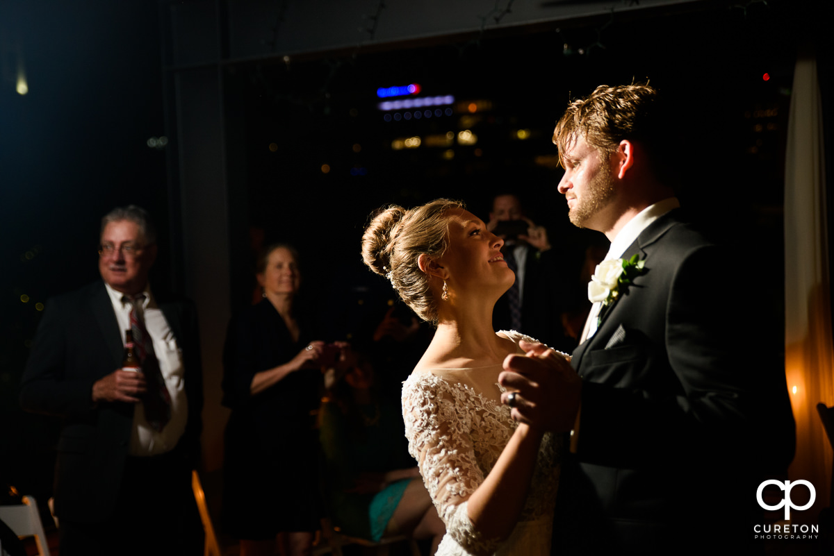 Bride and groom first dance at their Loft at Soby's wedding reception in downtown Greenville,SC.