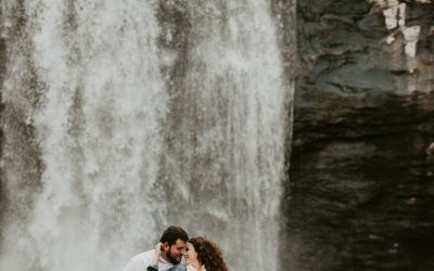 Looking Glass Falls Engagement Session in Pisgah Forest – Kate + Nick