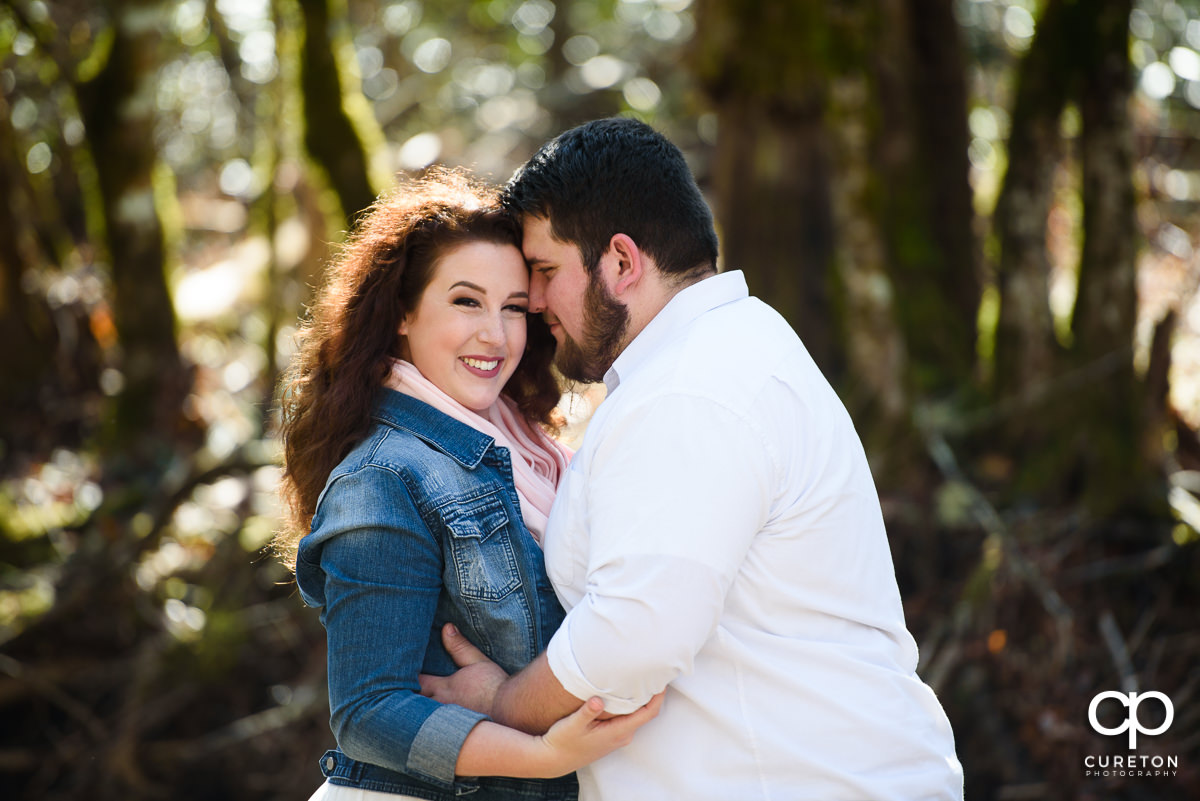 Engaged couple in Pisgah Forest near Brevard,NC.