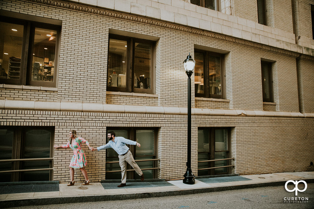 Main Street Greenville,SC Engagement Session – Alex + Jordan