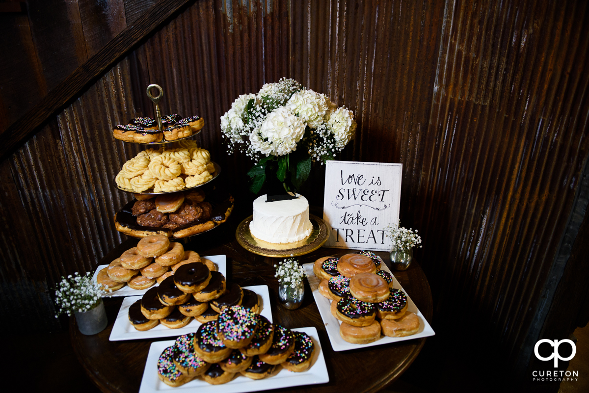 Donuts and a wedding cake.