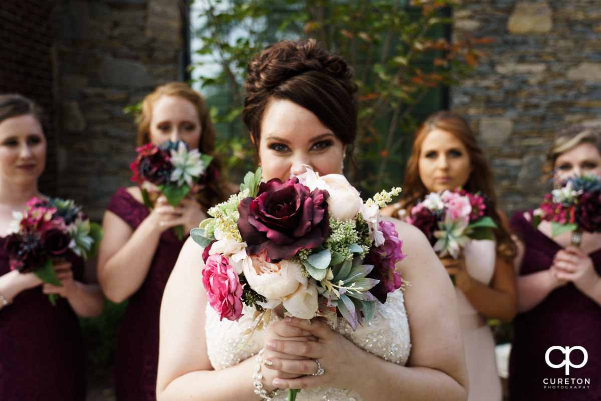 Bride holding her flowers.