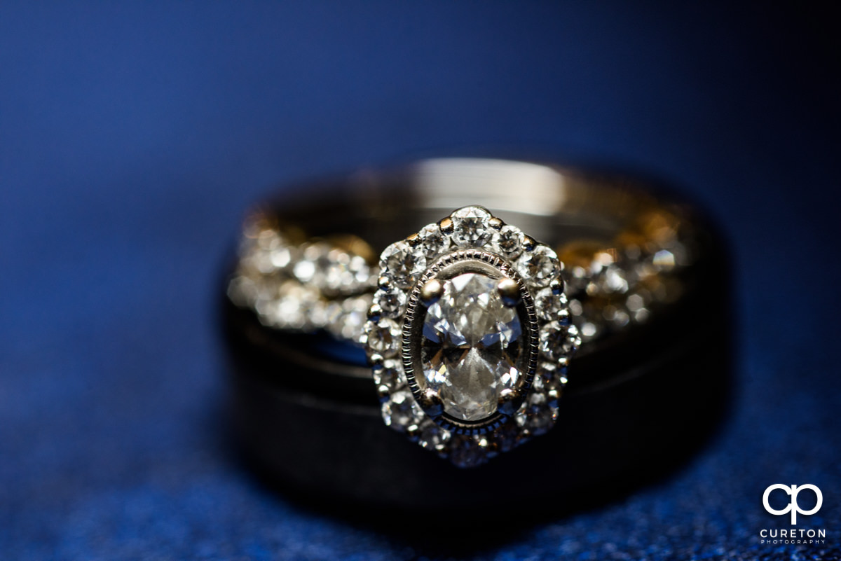 Wedding ring closeup macro photo.
