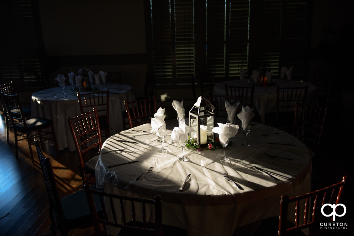 Table setup for a reception at Noah's.