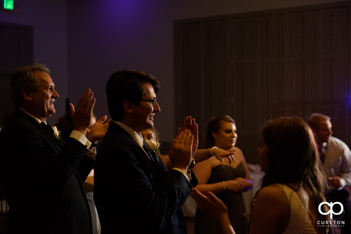 Wedding guests dancing at the reception at Noah's Event Venue in Greenville,SC.