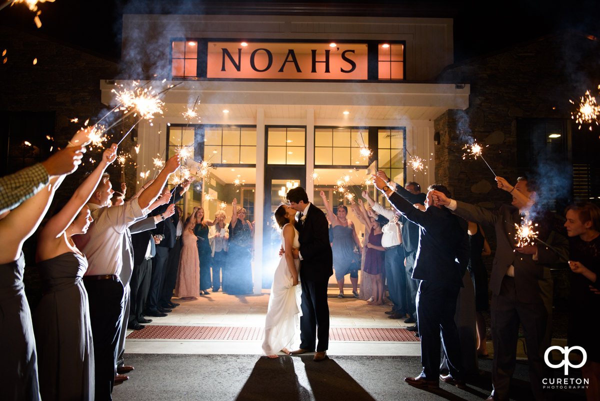 Epic sparkler wedding exit at Noah's Event Venue in Greenville,SC.