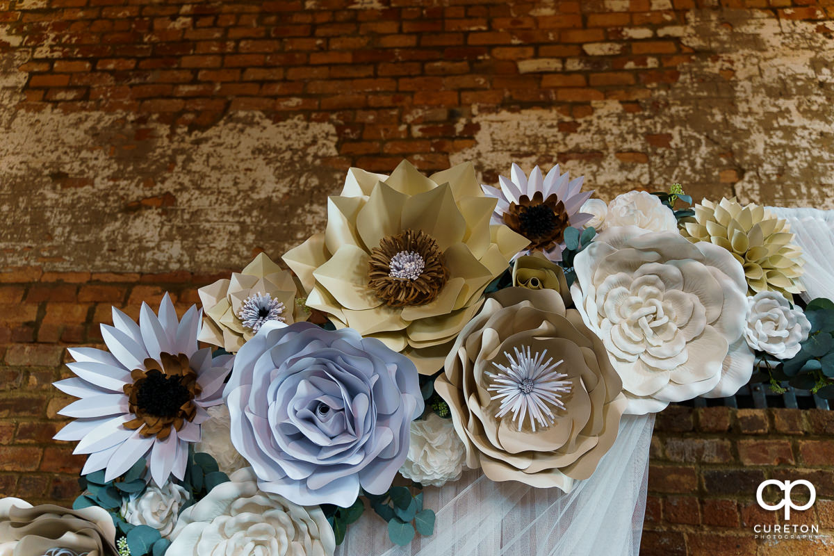 Paper flower wedding decor.