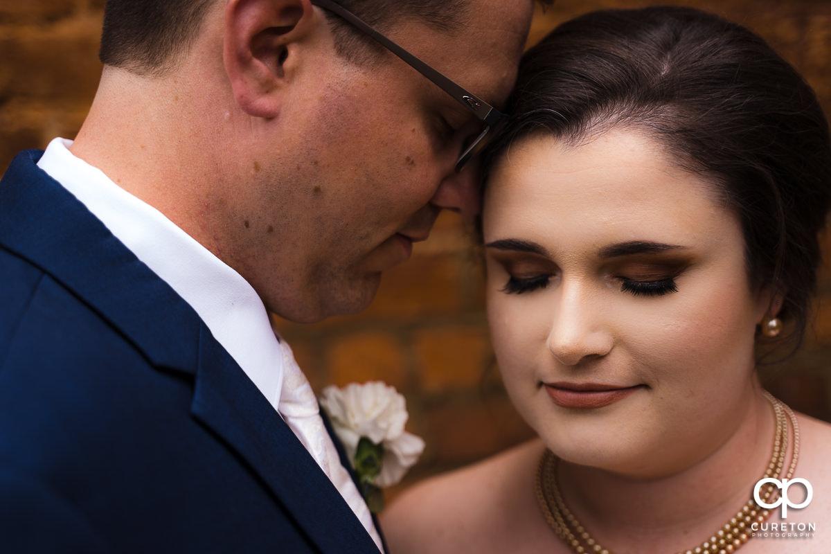 Closeup of bride an groom.