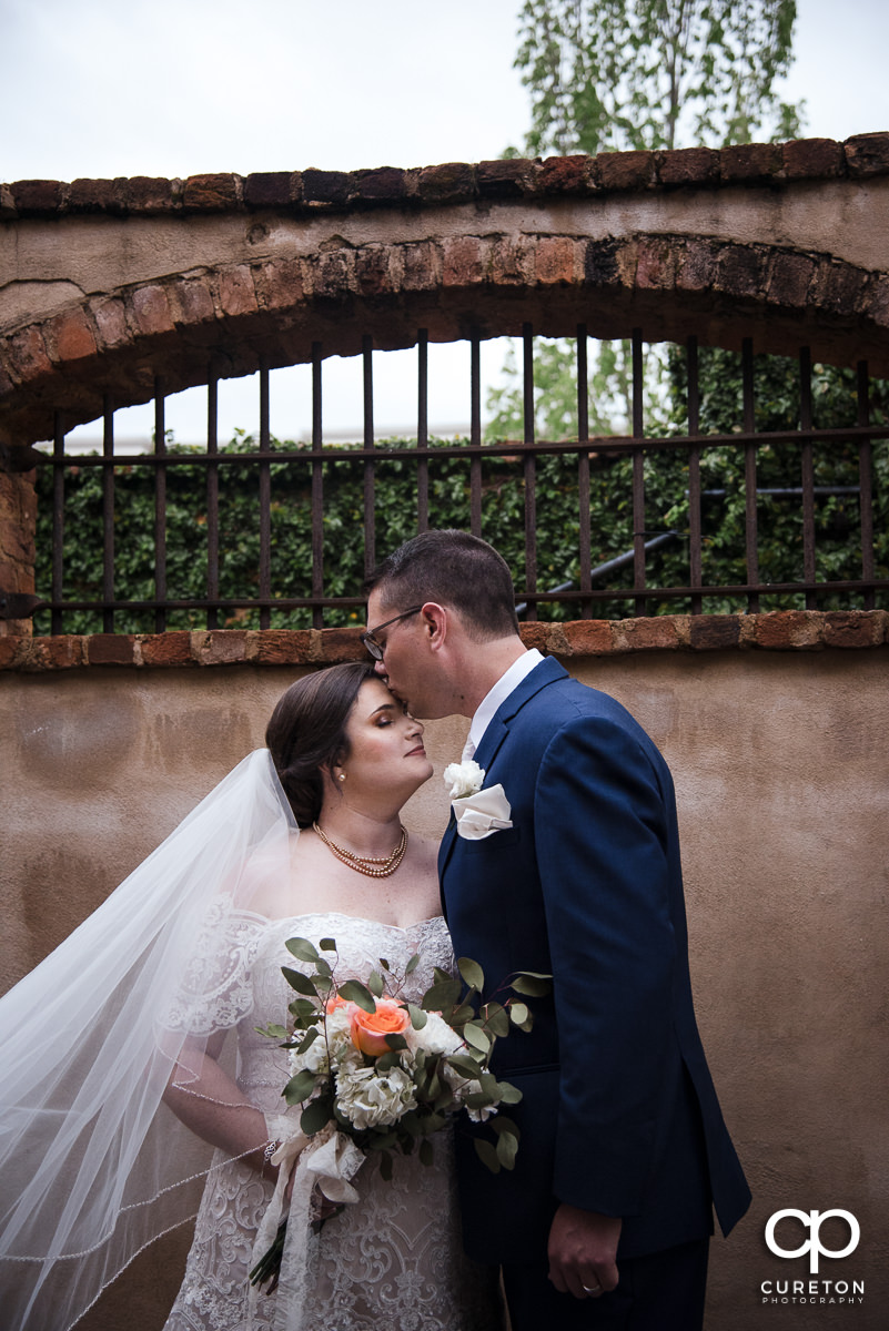 Groom kissing his bride on the forehead in front of an ivy wall.