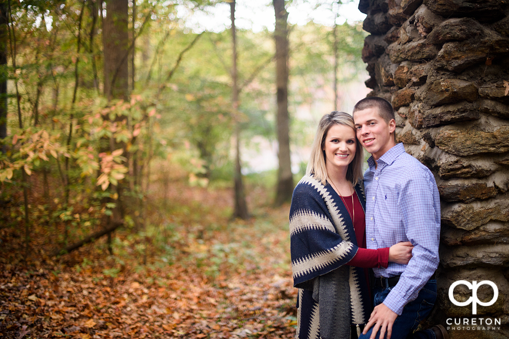 Engaged couple during their fall engagement session at Paris mountain.