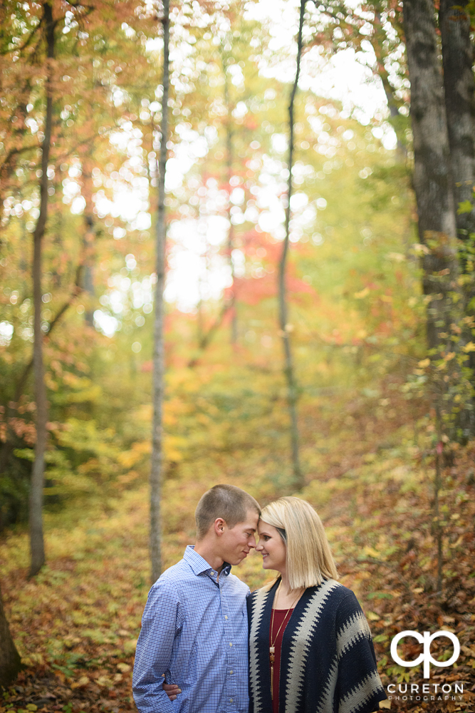 Future bride and groom in the fall leaves during their Paris mountain engagement.