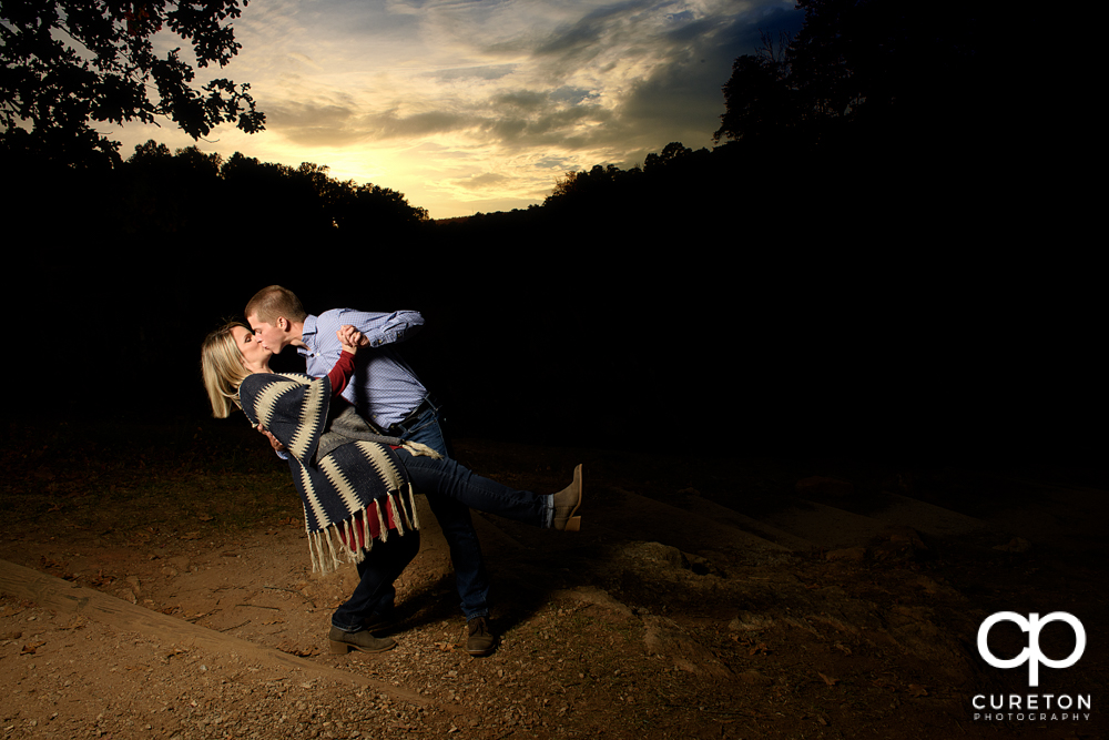 Epic sunset during the Paris mountain engagement session.