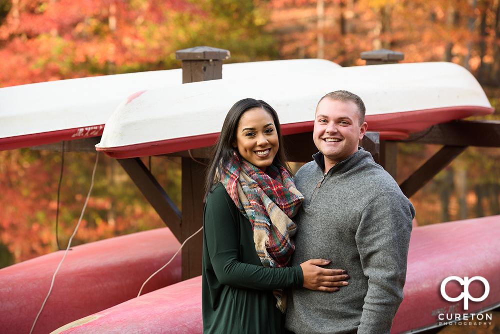 Future bride and groom during their state park engagement session.