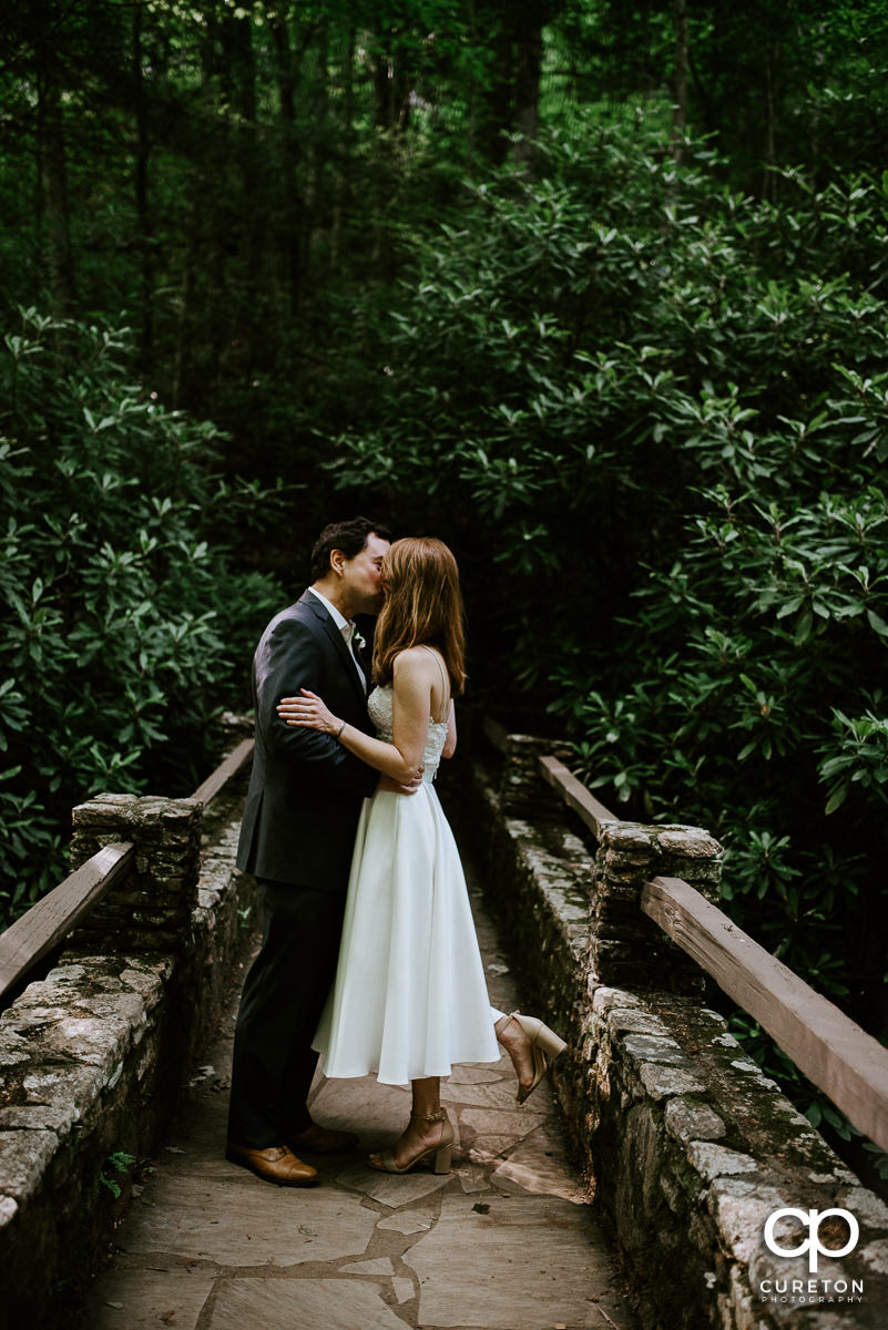 Bride and groom kissing on a bridge their elopement style wedding in North Carolina at Pearson's Falls in Saluda.