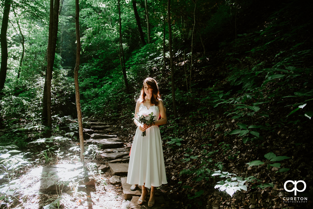 Bride standing in the forest.