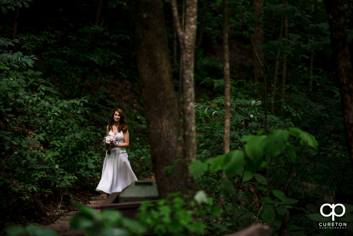 Bride walking down the aisle at her wedding ceremony at Pearson's Falls in North Carolina.