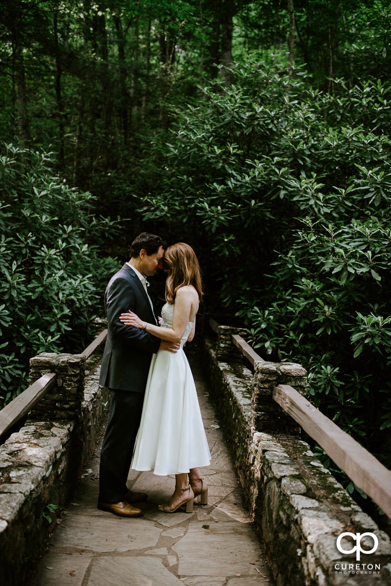 Newlyweds cuddling on a bridge after an elopement wedding in North Carolina.