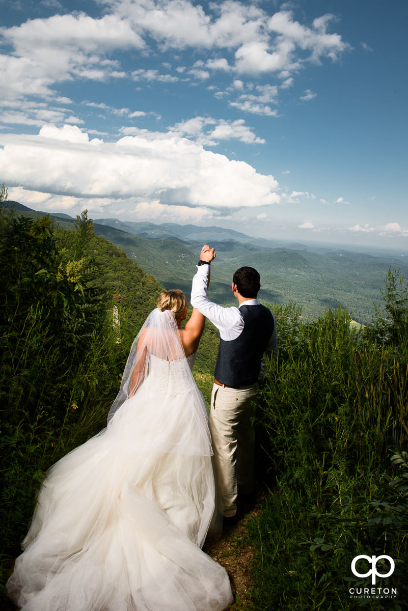 Bride and groom on a mountain top in South Carolina.