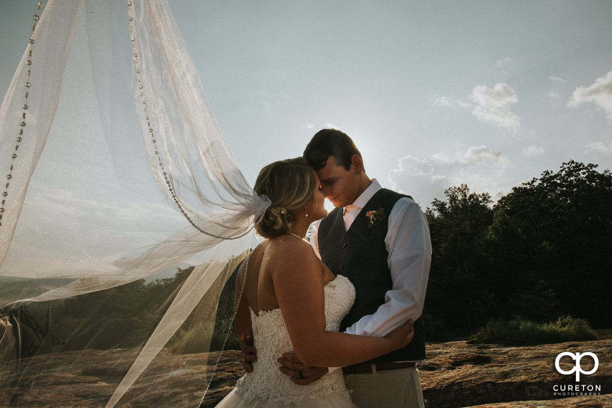 Bride's veil blowing in the wind on Bald Rock.