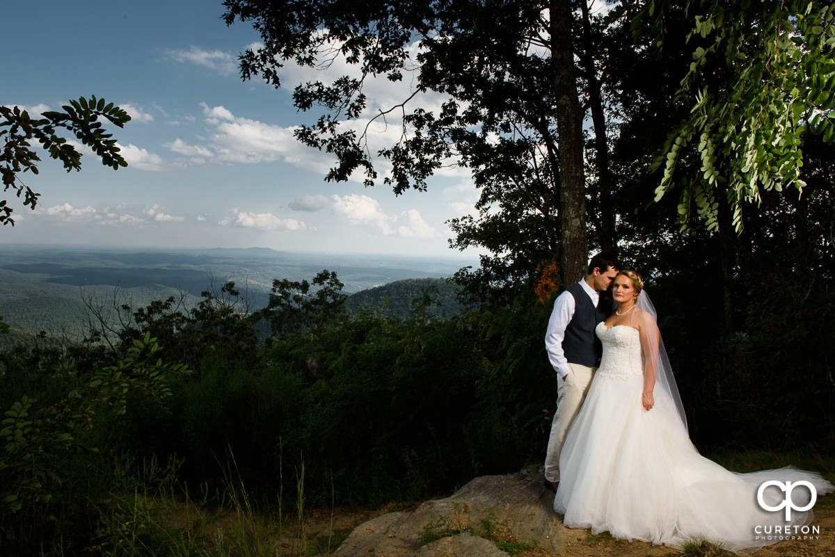 Bride and groom with the South Carolina mountains as a backdrop.