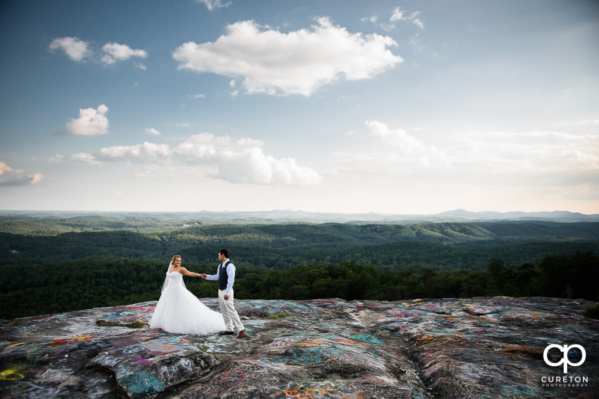 Bride and groom after their South Carolina mountain wedding.