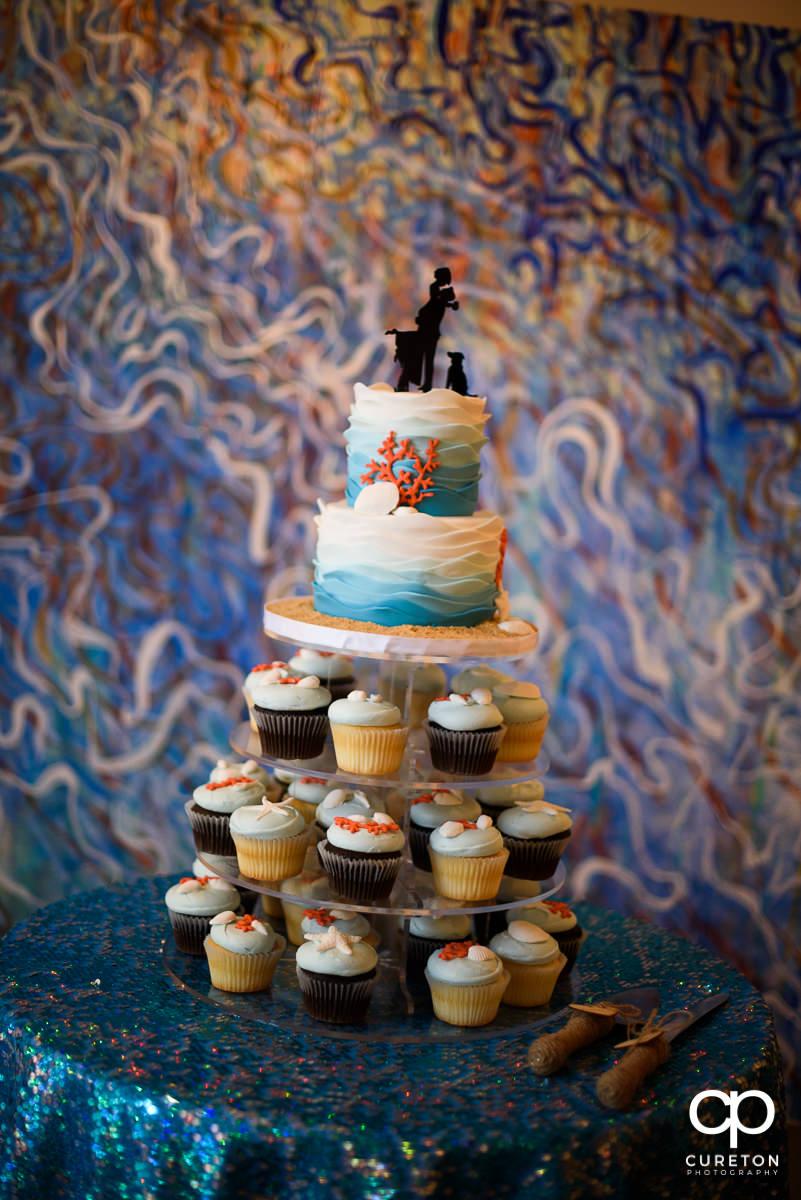 Beach themed wedding cake.