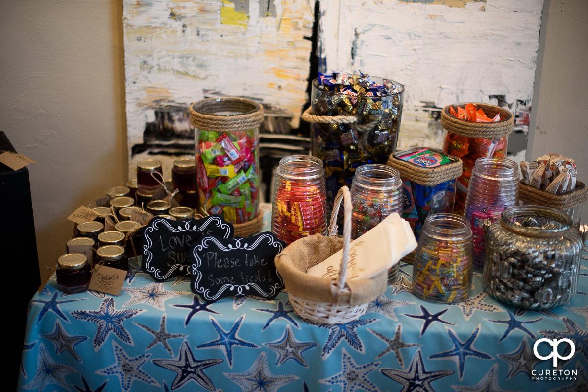 Wedding sweets display.