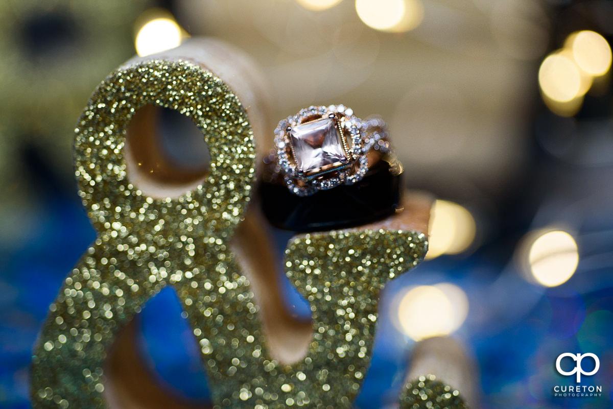 Closeup of the wedding ring.