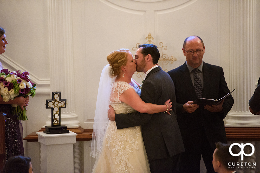 First kiss at the ceremony.