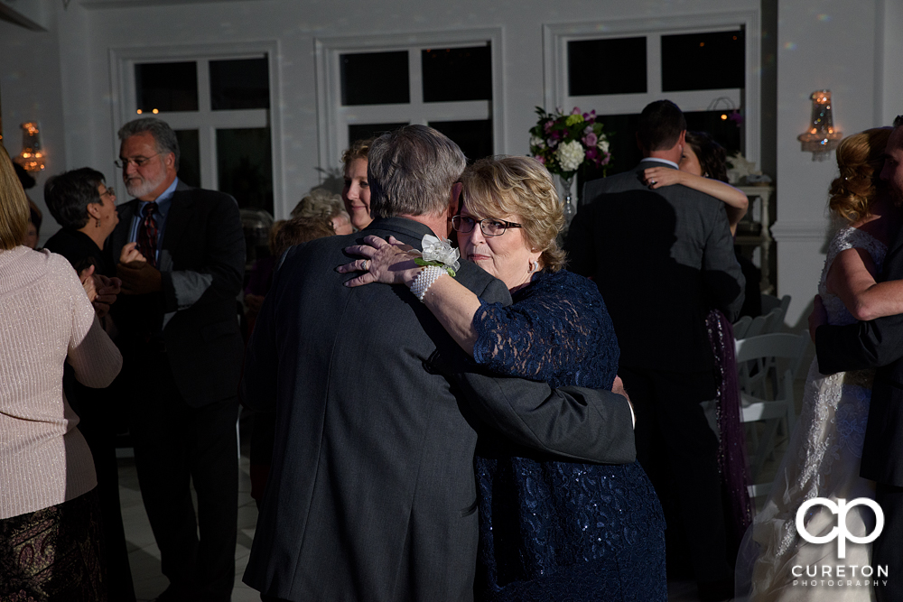 Guests dancing in the pavilion at the reception.
