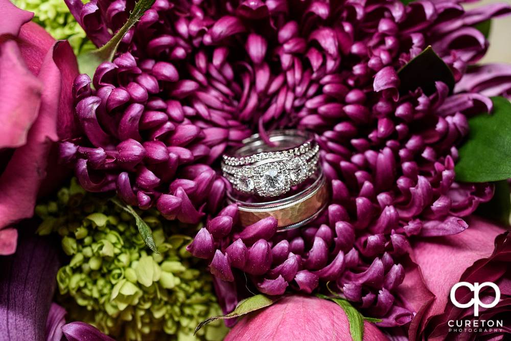 Wedding ring in the bouquet.