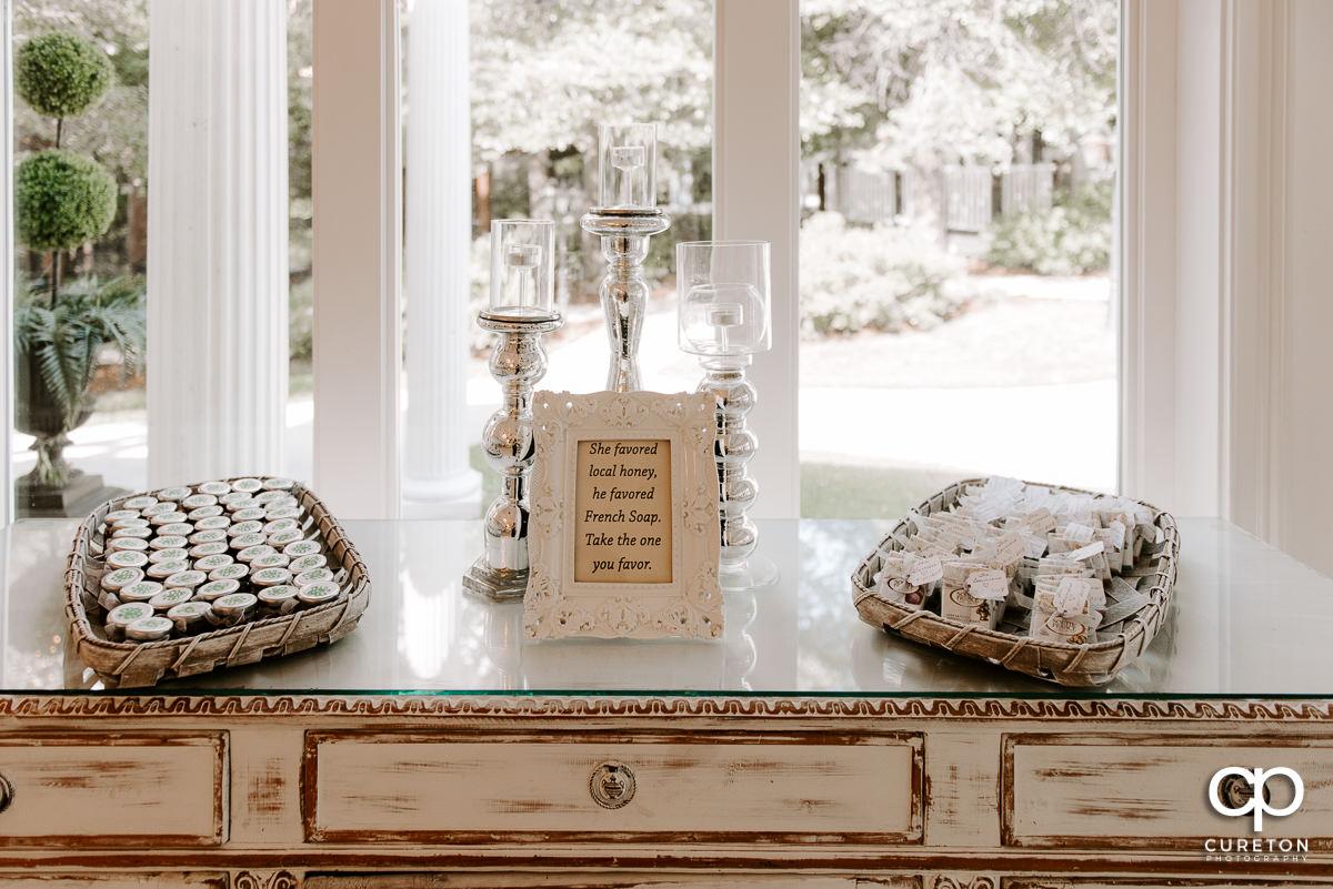 Honey and soap creative wedding favors.