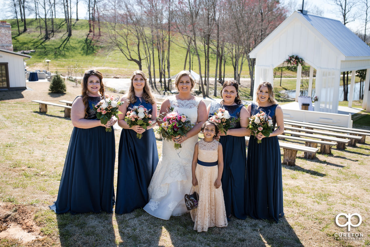 Bride and bridesmaids at South Wind Ranch.