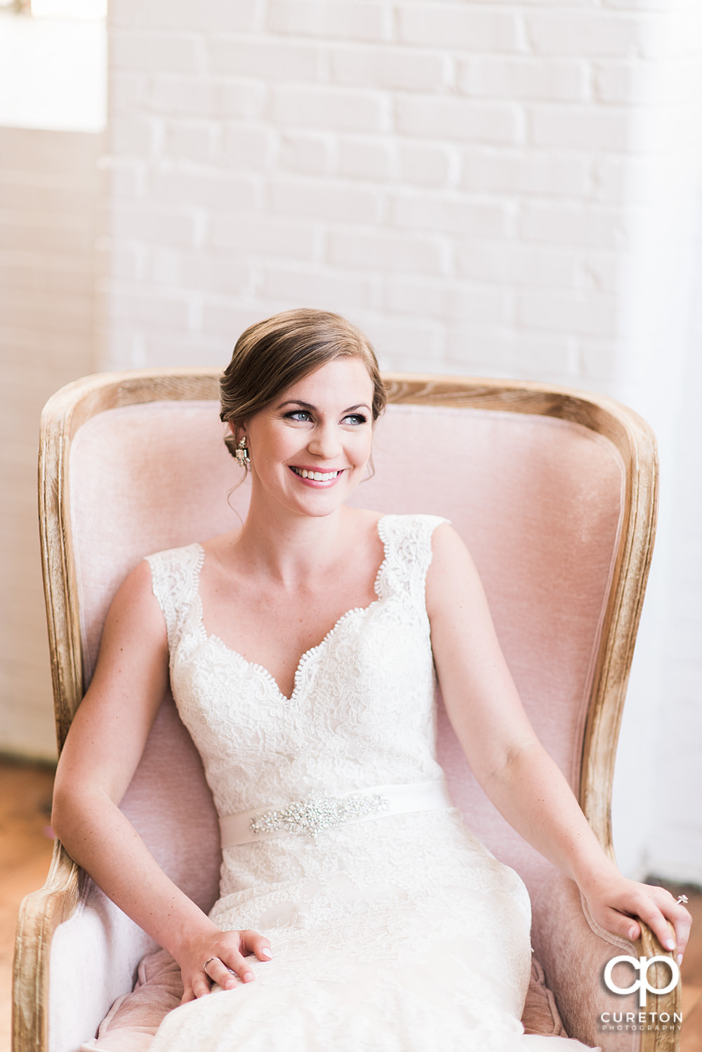 Bride laughing during her bridal session.
