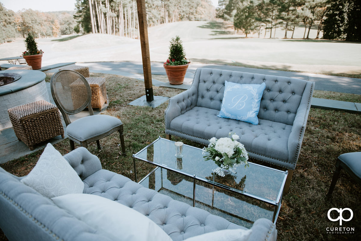 Beautiful wedding decor outside of the Spartanburg Country Club.