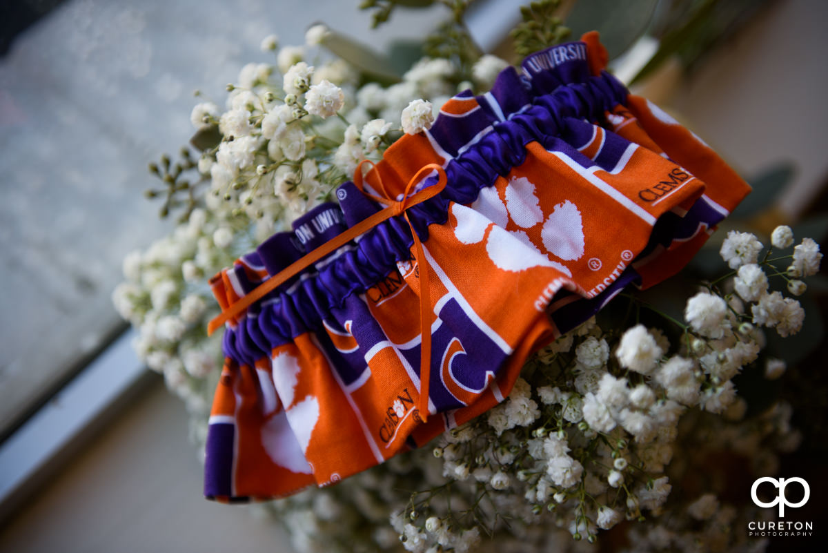 The bride's Clemson garter.
