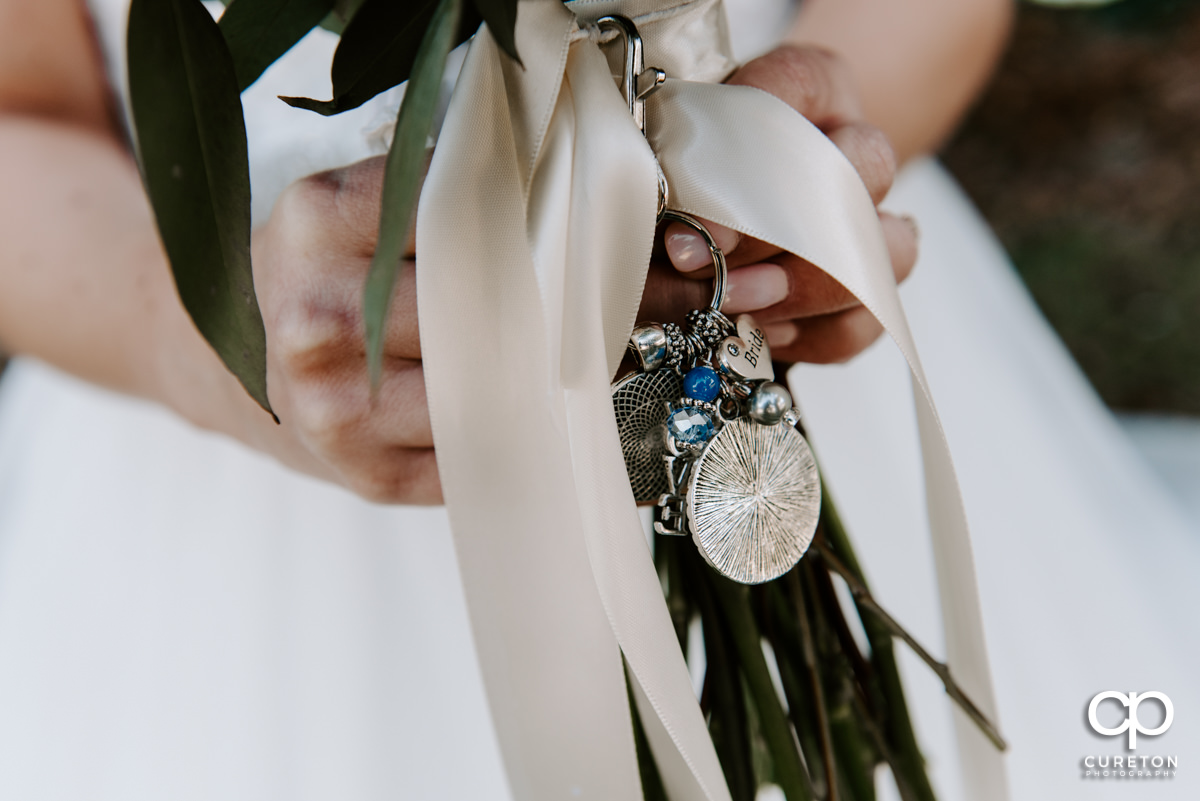 Detail on the bride's bouquet.