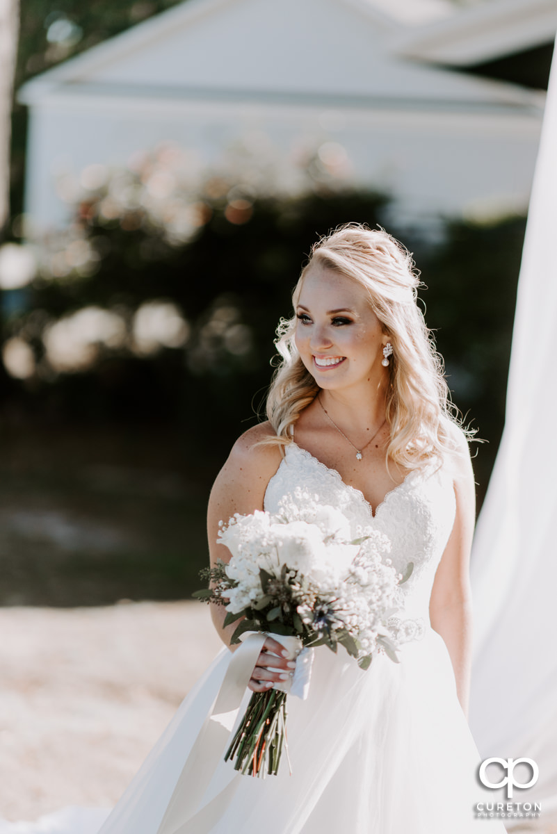 Beautiful blonde bride on her wedding day.