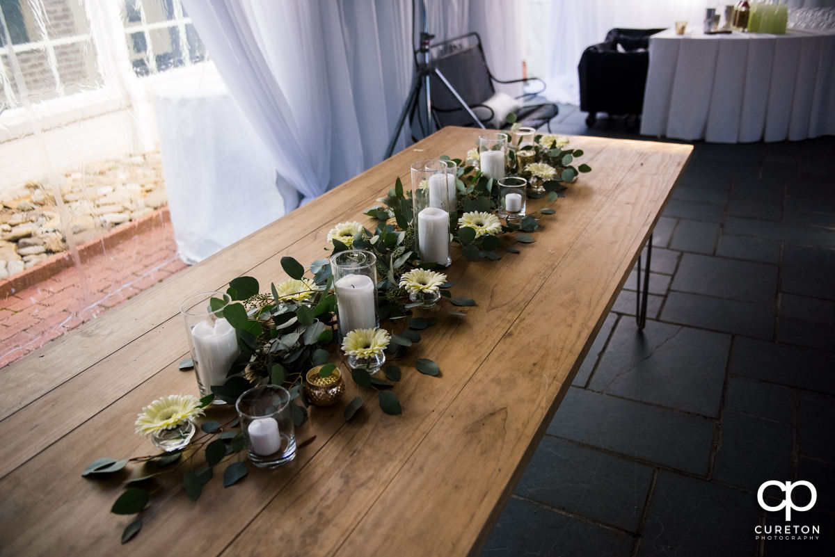 Wedding table arrangements.