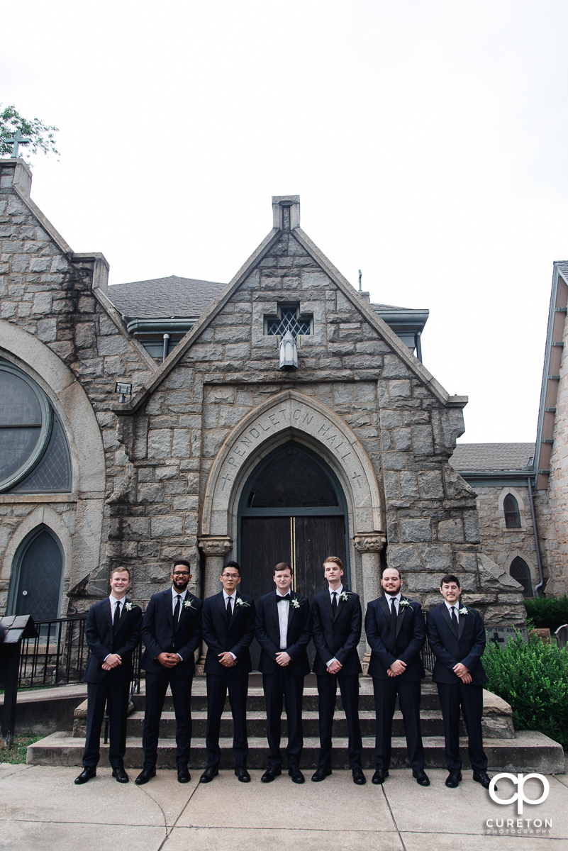 Groom and groomsmen outside of a church in Spartanburg.