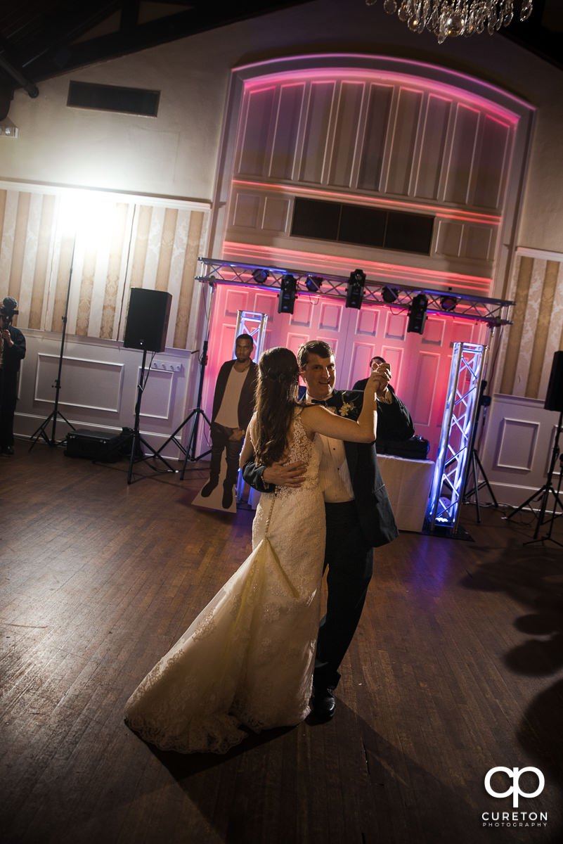 Bride dancing with his daughter at the wedding reception at Spartanburg Country Club.