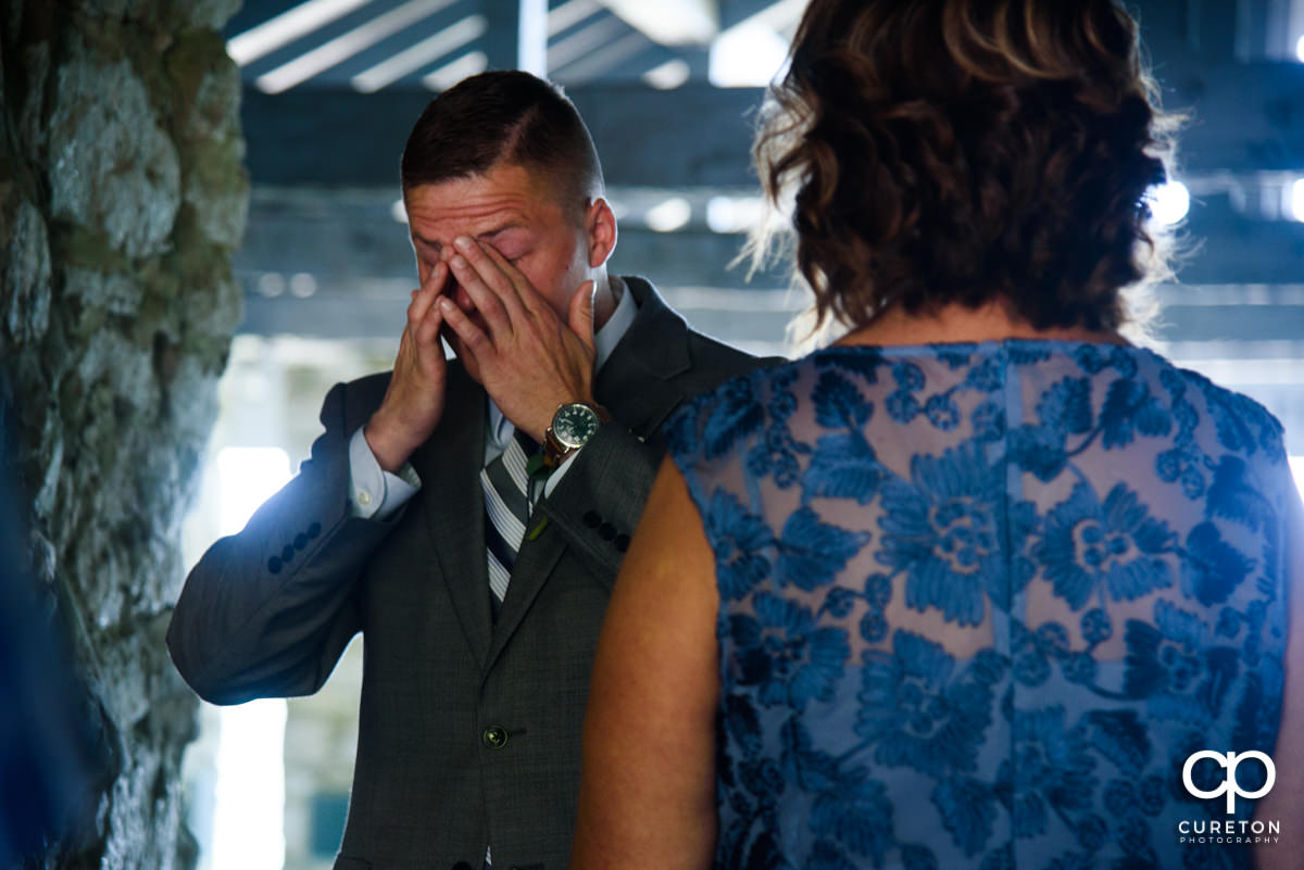 Groom getting emotional before the ceremony.