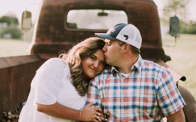 Travelers Rest Engagement Session in a field – Kayla + Chris