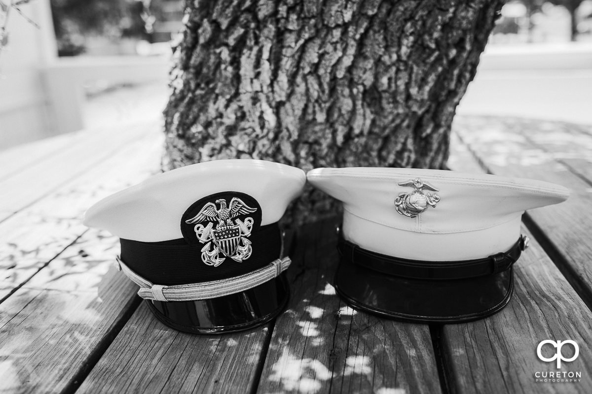 Bride and groom's Marine covers.