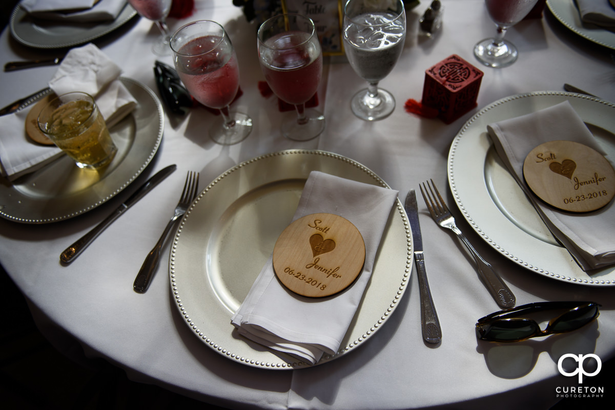 Place settings at the reception.
