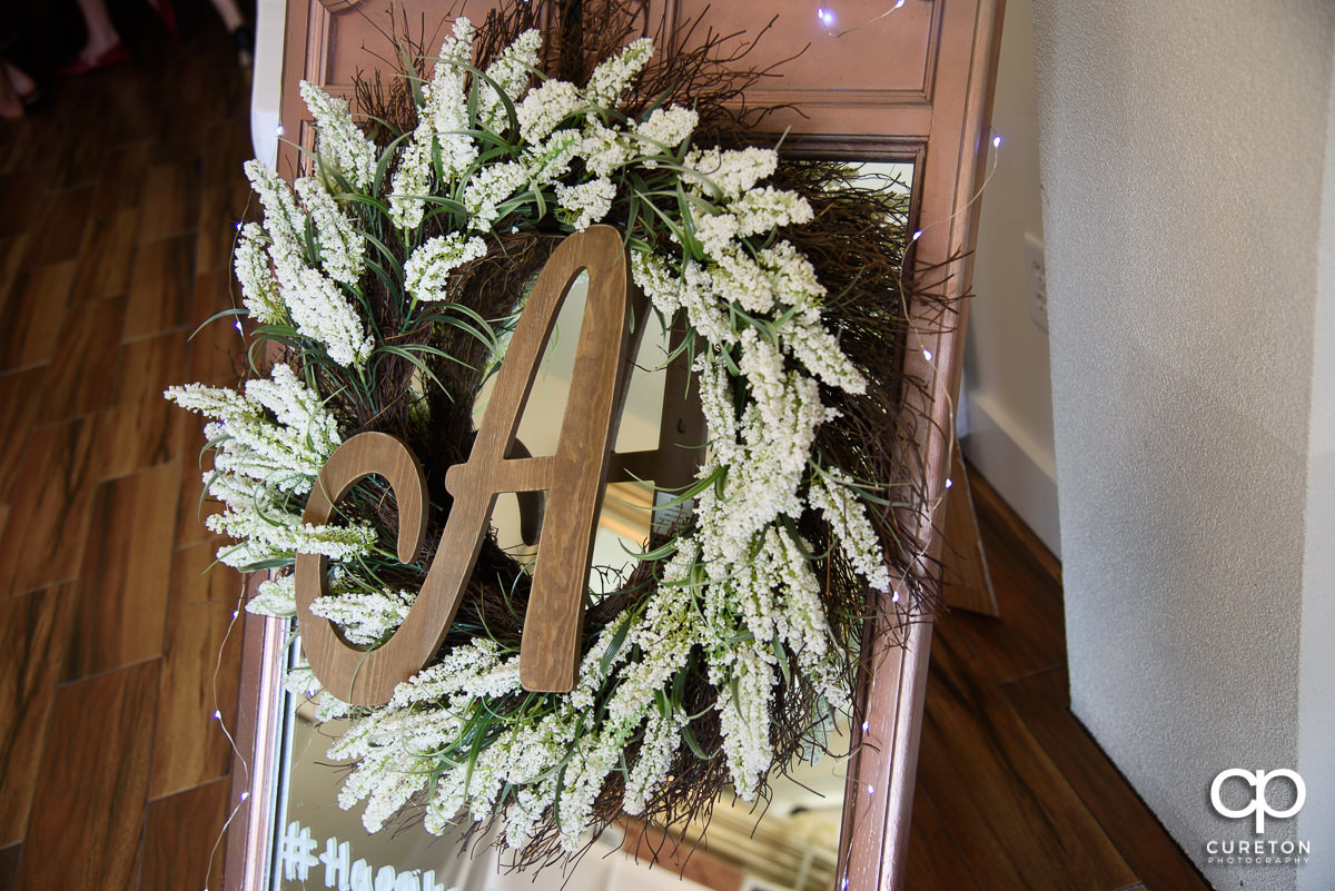 Floral wreath at the reception.