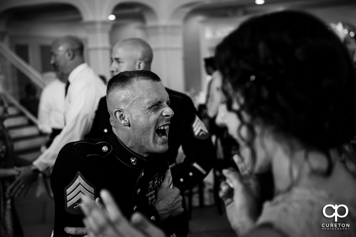 Marine dancing at the wedding reception.
