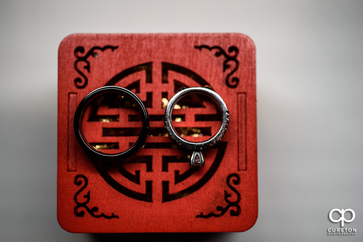 Wedding rings on an ornate red box.