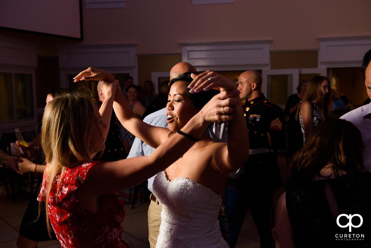 Bride dancing.