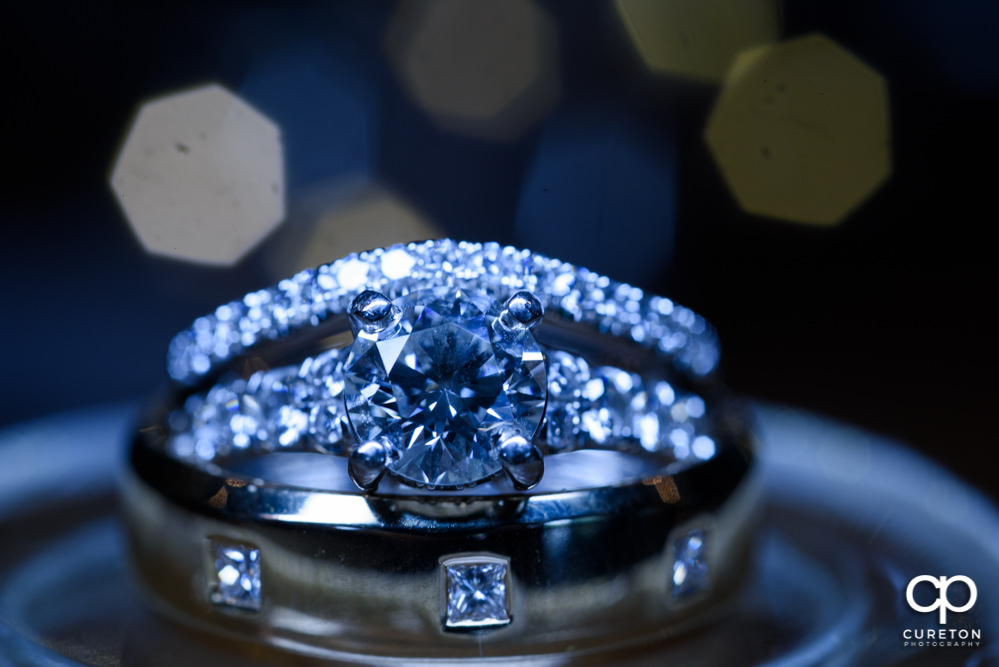 Closeup of the wedding ring.